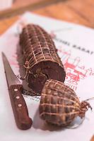 France, Aude (11), Carcassonne: Foie de porc sec  chez Michel Rabat,   Boucher Charcutier   //France, Aude, Carcassonne