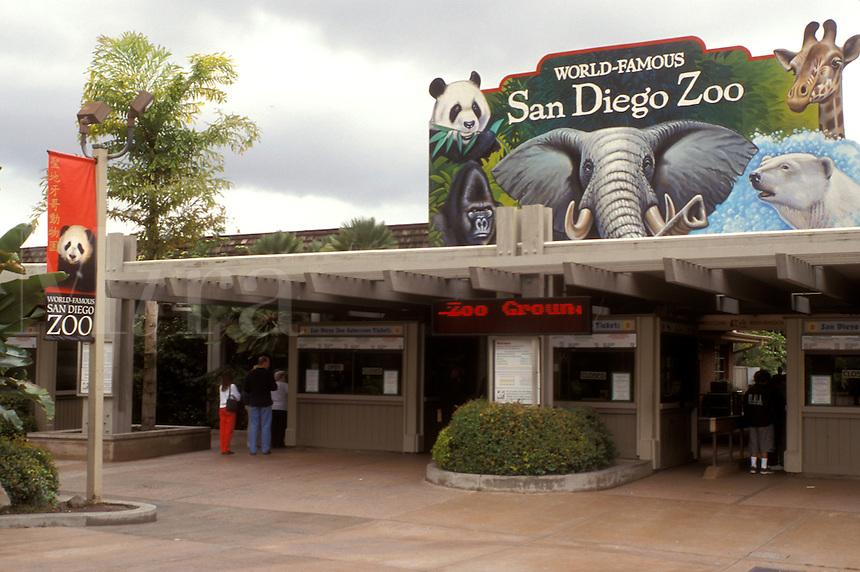San Diego Zoo, San Diego, California, CA, Entrance to the San Diego Zoo at Balboa Park in San Diego.