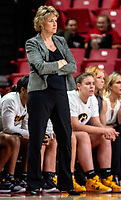 COLLEGE PARK, MD - FEBRUARY 13: Lisa Bluder head coach of Iowa watches a play during a game between Iowa and Maryland at Xfinity Center on February 13, 2020 in College Park, Maryland.