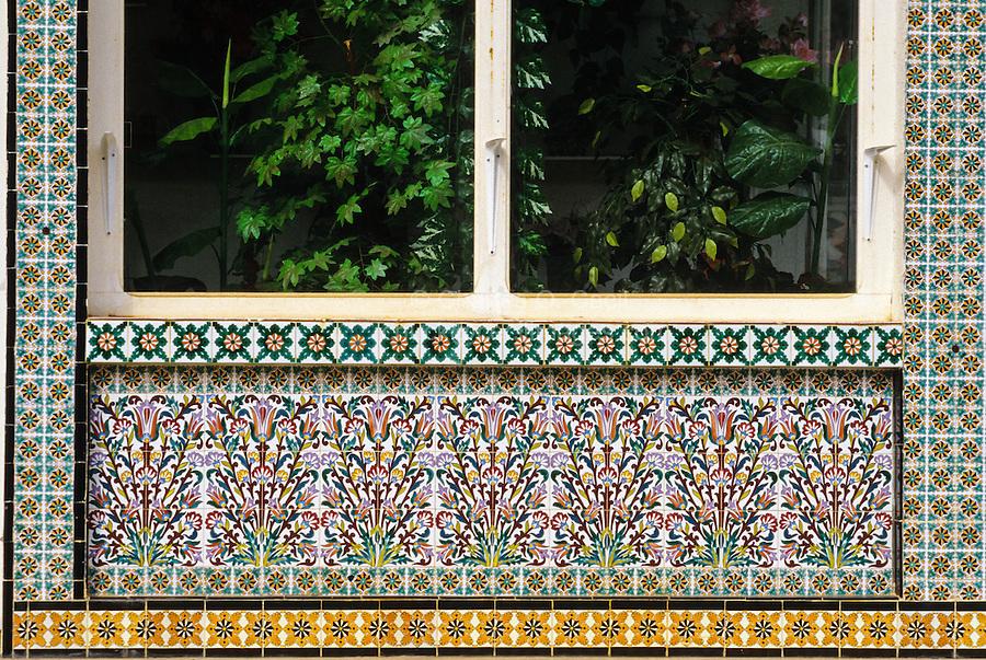 Ceramics, Nabeul, Tunisia.  Florist's Shop Decorated with Floral Design in Ceramic Tiles.