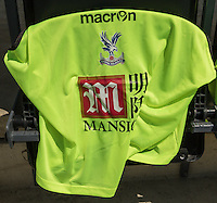 Crystal Palace shirt sponsored by Mansion before the Friendly match between Barnet and Crystal Palace at The Hive, London, England on 11 July 2015. Photo by David Horn.