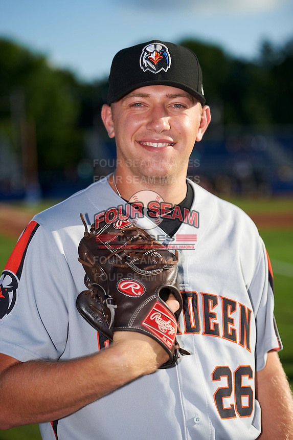 Aberdeen Ironbirds pitcher Max Knutson (26) poses for a photo before a game against the Batavia Muckdogs on July 14, 2016 at Dwyer Stadium in Batavia, New York.  Aberdeen defeated Batavia 8-2. (Mike Janes/Four Seam Images)