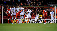 21.02.2013 Liverpool, England. Luis Suarez of Liverpool equalises for Liverpool in the Europa League game between Liverpool and Zenit St Petersburg from Anfield.