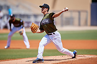 Biloxi Shuckers starting pitcher Kodi Medeiros (16) delivers a pitch during a game against the Jacksonville Jumbo Shrimp on May 6, 2018 at MGM Park in Biloxi, Mississippi.  Biloxi defeated Jacksonville 6-5.  (Mike Janes/Four Seam Images)
