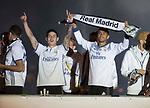 Real Madrid's James Rodriguez (l) and Danilo Luiz da Silva celebrate the victory in La Liga 2016/2017 Championship. May 21,2017. (ALTERPHOTOS/Inma Garcia)