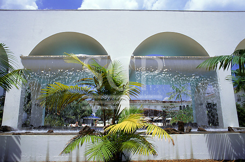Manaus, Amazonas, Brazil. Hotel Tropical, Manaus, showing the arches and waterfall in the pool area.