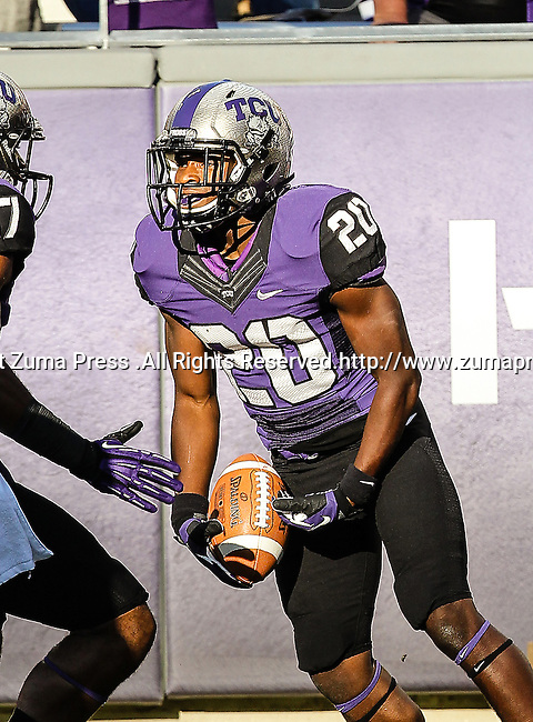 TCU Horned Frogs cornerback Deante' Gray (20) in action during the game between the Grambling State Tigers and the TCU Horned Frogs  at the Amon G. Carter Stadium in Fort Worth, Texas. TCU defeats Grambling State 59 to 0.