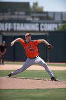 San Francisco Giants Orange relief pitcher Zach Becherer (80) delivers a pitch during an Extended Spring Training game against the Oakland Athletics at the Lew Wolff Training Complex on May 29, 2018 in Mesa, Arizona. (Zachary Lucy/Four Seam Images)