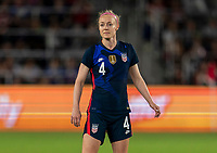 ORLANDO, FL - MARCH 05: Becky Sauerbrunn #4 of the United States watches for the ball during a game between England and USWNT at Exploria Stadium on March 05, 2020 in Orlando, Florida.