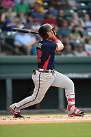 Left fielder Jefry Ramos (22) of the Rome Braves bats in Game 2 of a doubleheader against the Greenville Drive on Friday, August 3, 2018, at Fluor Field at the West End in Greenville, South Carolina. Rome won, 6-3. (Tom Priddy/Four Seam Images)