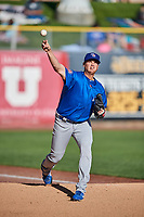 Iowa Cubs starting pitcher Seth Frankoff (20) warms up in the bullpen before the game against the Salt Lake Bees in Pacific Coast League action at Smith's Ballpark on May 13, 2017 in Salt Lake City, Utah. Salt Lake defeated Iowa  5-4. (Stephen Smith/Four Seam Images)