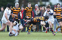 RBAI vs R S ARMAGH | Saturday 21st February 2015<br /> <br /> Charlie Fryers is tackled by Chris Jennings during 2015 Ulster Schools Cup Quarter-Final between RBAI and Royal School Armagh at Osborne Park, Belfast, Northern Ireland.<br /> <br /> Picture credit: John Dickson / DICKSONDIGITAL