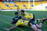 Action from the rugby match between Hurricanes Under-20 and Hurricanes Hunters development at Sky Stadium in Wellington, New Zealand on Saturday, 20 March 2020. Photo: Dave Lintott / lintottphoto.co.nz