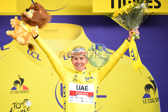 Tadej Pogacar (SLO) UAE Team Emirates retains the race leaders Yellow Jersey at the end of Stage 9 of the 2021 Tour de France, running 150.8km from Cluses to Tignes, France. 4th July 2021.  <br /> Picture: A.S.O./Pauline Ballet | Cyclefile<br /> <br /> All photos usage must carry mandatory copyright credit (© Cyclefile | A.S.O./Pauline Ballet)