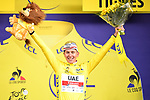 Tadej Pogacar (SLO) UAE Team Emirates retains the race leaders Yellow Jersey at the end of Stage 9 of the 2021 Tour de France, running 150.8km from Cluses to Tignes, France. 4th July 2021.  <br /> Picture: A.S.O./Pauline Ballet   Cyclefile<br /> <br /> All photos usage must carry mandatory copyright credit (© Cyclefile   A.S.O./Pauline Ballet)
