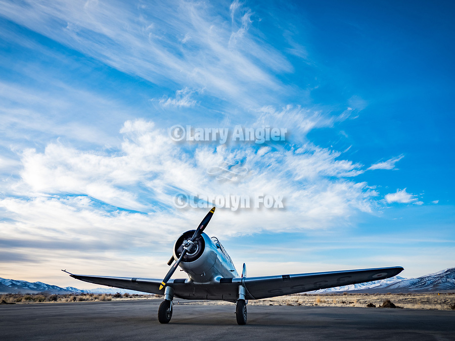 Chet Stringham's North American Aviation NA-64 Yale WWII-vintage airplane at the Winnemucca, Nev. airport, subject for an early morning photo session with M.d. Welsh at Shooting The West XXX.<br /> <br /> <br /> #ShootingTheWest XXX, #WinnemuccaNevada, #NA-64Yale, #Aviation