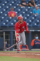 Washington Nationals Carter Kieboom (8) bats during a Major League Spring Training game against the Houston Astros on March 19, 2021 at The Ballpark of the Palm Beaches in Palm Beach, Florida.  (Mike Janes/Four Seam Images)