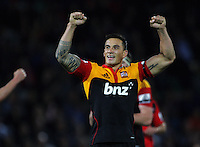 Sonny Bill Williams celebrates victory during the Super 15 rugby union match between Crusaders v Chiefs at McLean Park, Napier, New Zealand on Friday, 9 March 2012. Photo: Dave Lintott / lintottphoto.co.nz