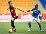 St Johnstone v Partick Thistle…29.10.16..  McDiarmid Park   SPFL<br />Callum Booth and Richie Foster<br />Picture by Graeme Hart.<br />Copyright Perthshire Picture Agency<br />Tel: 01738 623350  Mobile: 07990 594431