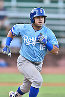 Burlington Royals second baseman Gabriel Cancel (12) runs to first base during game against the Elizabethton Twins at Joe O'Brien Field on August 24, 2016 in Elizabethton, Tennessee. The Royals defeated the Twins 8-3. (Tony Farlow/Four Seam Images)