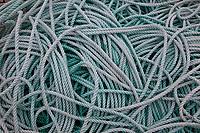 Green Rope Detail, Port of Astoria, Washington State, WA, America, USA.