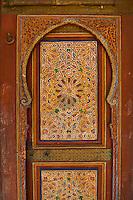 Berber Arabesque painted wood door .The Petite Court, Bahia Palace, Marrakesh, Morroco