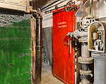 Fire Door, Red Door, Seattle, WA, Georgetown Steam Plant, a National Historic Landmark in Seattle, WA USA