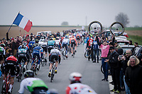 peloton exiting the  first cobble section <br /> <br /> 117th Paris-Roubaix 2019 (1.UWT)<br /> One day race from Compiègne to Roubaix (FRA/257km)<br /> <br /> ©kramon