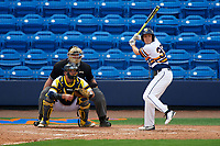 Canisius College Golden Griffins pinch hitter Jake Walter (38) at bat in front of catcher Harrison Wenson (7) and umpire Robert Lothian during the first game of a doubleheader against the Michigan Wolverines on February 20, 2016 at Tradition Field in St. Lucie, Florida.  Michigan defeated Canisius 6-2.  (Mike Janes/Four Seam Images)