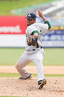 Relief pitcher Yordany Ramirez #45 of the Lexington Legends in action against the Kannapolis Intimidators at Fieldcrest Cannon Stadium on May 11, 2011 in Kannapolis, North Carolina.   Photo by Brian Westerholt / Four Seam Images