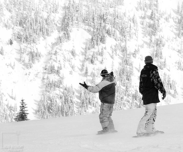 Snowboarded giving praise to the wonder around him.