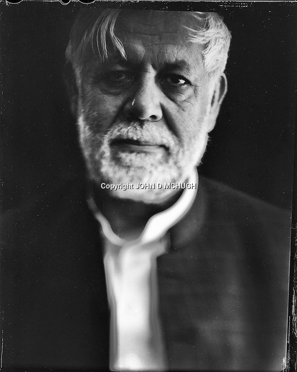 """Commander Assadullah Falah, a former Mujahedeen leader and now a politician, is seen at his home in Kabul, 22 August 2012. This portrait was shot on a 5x4 Linhof Technika IV, circa 1959, and a Schneider Kreuznach 270mm lens, circa 1952, with front tilt, and is part of a series entitled """"Putting an Afghan face on the war."""" (John D McHugh)"""