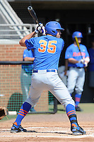 Florida Gators designated hitter Brian Johnson #35 awaits a pitch during a game against the Tennessee Volunteers at Lindsey Nelson Stadium, Knoxville, Tennessee April 14, 2012. The Volunteers won the game 5-4  (Tony Farlow/Four Seam Images)..