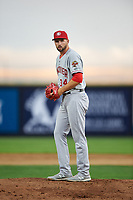 Vancouver Canadians starting pitcher Adam Kloffenstein (34) prepares to deliver a pitch during a Northwest League game against the Tri-City Dust Devils at Gesa Stadium on August 21, 2019 in Pasco, Washington. Vancouver defeated Tri-City 1-0. (Zachary Lucy/Four Seam Images)