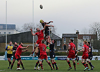 James Tyas of London Scottish climbs high in a line out during the Greene King IPA Championship match between London Scottish Football Club and Jersey at Richmond Athletic Ground, Richmond, United Kingdom on 16 December 2017. Photo by Mark Kerton / PRiME Media Images.