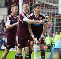 Hearts' Calum Paterson (right) celebrates after he scores their fifth goal.