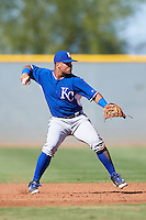 Kansas City Royals Gabriel Cancel (8) during an Instructional League game against the Cleveland Indians on October 11, 2016 at the Cleveland Indians Player Development Complex in Goodyear, Arizona.  (Mike Janes/Four Seam Images)
