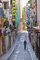 Narrow winding streets with old houses. Sitges, Catalonia, Spain
