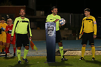 Assistant referee Daniele Dosi, referee Virgil Ifrim and assistant referee Shkumbin Raci pictured at the start  of a female soccer game between FC Femina White Star Woluwe and Eendracht Aalst on the sixth matchday of the 2020 - 2021 season of Belgian Scooore Womens Super League , friday 6 th of November 2020  in Woluwe , Belgium . PHOTO SPORTPIX.BE | SPP | SEVIL OKTEM