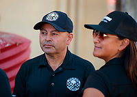 Sep 15, 2019; Mohnton, PA, USA; NHRA top fuel driver Mike Salinas with wife Monica Salinas during the Reading Nationals at Maple Grove Raceway. Mandatory Credit: Mark J. Rebilas-USA TODAY Sports