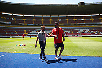 GUADALAJARA, MEXICO - MARCH 18: USMNT U23 head coach Jason Kreis and asiistant coach Jeff Cassar before a game between Costa Rica and USMNT U-23 at Estadio Jalisco on March 18, 2021 in Guadalajara, Mexico.