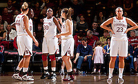 STANFORD, CA - December 12, 2010: The Stanford Cardinal women's basketball team during their victory over Fresno State. Stanford won 77-40.