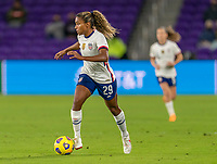 ORLANDO, FL - JANUARY 18: Catarina Macario #29 of the USWNT dribbles during a game between Colombia and USWNT at Exploria Stadium on January 18, 2021 in Orlando, Florida.
