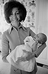 Diana Miles wife and new son of Leslie Thomas, OBE (22 March 1931 – 6 May 2014) was a Welsh author best known for his comic novel The Virgin Soldiers. At home in Berkshire 1971
