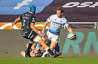 24th April 2021; Liberty Stadium, Swansea, Glamorgan, Wales; Rainbow Cup Rugby, Ospreys versus Cardiff Blues; Hallam Amos of Cardiff Blues is tackled by George North of Ospreys