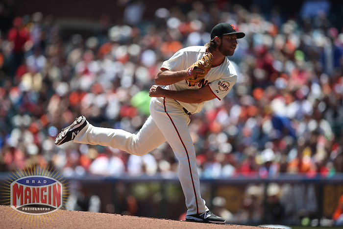 SAN FRANCISCO, CA - JULY 3:  Madison Bumgarner #40 of the San Francisco Giants pitches against the St. Louis Cardinals during the game at AT&T Park on Thursday, July 3, 2014 in San Francisco, California. Photo by Brad Mangin