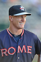 Coach Barrett Kleinknecht (25) of the Rome Braves in a game against the Greenville Drive on Wednesday, August 31, 2016, at Fluor Field at the West End in Greenville, South Carolina. Rome won, 9-1. (Tom Priddy/Four Seam Images)