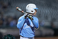 Kyle Datres (3) of the North Carolina Tar Heels at bat against the Charlotte 49ers at BB&T BallPark on March 27, 2018 in Charlotte, North Carolina. The Tar Heels defeated the 49ers 14-2. (Brian Westerholt/Four Seam Images)