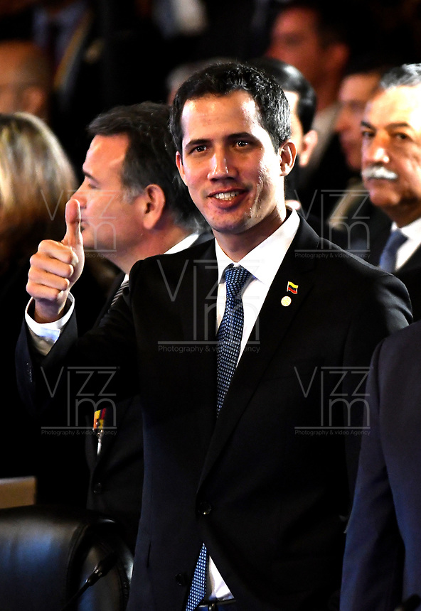 BOGOTÁ – COLOMBIA, 24-02-2019: Juan Guaidó, Presidente interino de Venezuela, durante la 11ª reunión de Ministros de Relaciones Exteriores del Grupo de Lima en Bogotá, Colombia. El grupo de 14 miembros de Lima, que incluye a la mayoría de los paises latinoamericanos. Es la primera reunión en la que Venezuela participará como miembro del grupo de Lima, representado por el presidente interino Juan Guaido. / Juan Guaidó, President Acting of Venezuela, during the 11th Lima Group Foreign Ministers meeting in Bogota, Colombia. The 14-member Lima Group, which includes most Latin American. It is first meeting in which Venezuela will participate as a member of the Lima group, represented by the Acting President Juan Guaido. Photo: VizzorImage / Luis Ramírez / Staff.