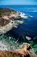 The Big Sur coastline of California is known for its rugged, scenic landscapes . Jagged bluffs plunge into  the Pacific ocean, Monterey County, California, Pacific Ocean